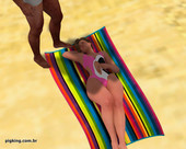 SEXY MILF WITH SHORT HAIR FUCKED BY BLACK GUY ON THE BEACH AND THEN BY SHEMALE IN PIGKING NININHO
