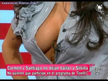 Silvina Escudero hot sideboob view on TV