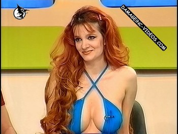 Valeria Notari busty redhead on TV