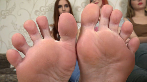 Eva & Judy & Angela - sweaty big soles in white socks Full HD