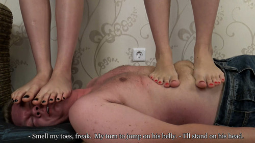 Lera & Kristina - double barefoot trampling (with weighing) Full HD